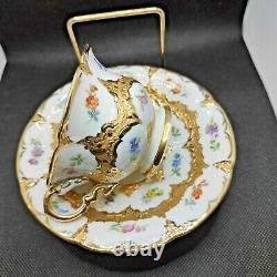 Antique Meissen Porcelain Demitasse Cup & Saucer Encrusted Gold & Flowers