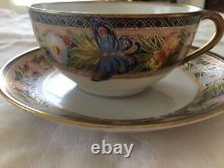 Antique Nippon Hand Painted Butterflies And Flowers Cup & Saucer Gorgeous