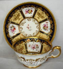 Antique Ornate Nantgarw Porcelain Gold Floral Tea Cup Cobalt Blue HP Flowers