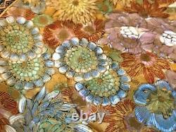 Antique Satsuma Black & Gold Mark Thousand Flowers Gilt Cabinet Cup & Saucer