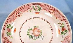 Antique Soft Paste Cup & Saucer Handleless Pink Mauve Flowers Hand Painted As Is