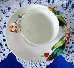 Antique VICTORIAN FLOWER HANDLE Hand Painted Cabinet Cup And Saucer BROWNFIELD