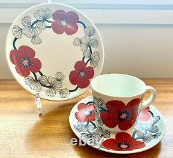 Arabia Esteri Tomula Isokukka (Big Flower) Coffee Cup With Saucer and Plate Rare