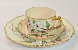 Atq HAVILAND LIMOGES Hand Painted Signd AL CHERRY BLOSSOM Trio Cup Saucer Plate