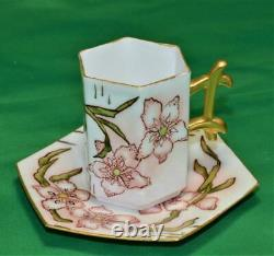 Atq LIMOGES France Hand Painted FLOWER Hexagonal Set Demitasse Cup & Saucer 1682