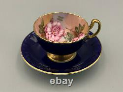 Aynsley Cabbage Roses Cobalt Blue Tea Cup and Saucer