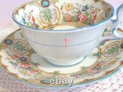 Aynsley Cup & Saucer Turquoise Blue Rose Flower REGINA Antique Vintage Japan FS
