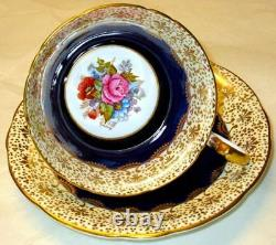 Aynsley J. A. Bailey Flowers EXQUISITE Hand Painted Cobalt Blue Gold Cup Saucer