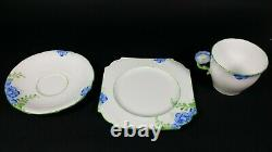 Aynsley RARE Flower Handle Tea Cup and Saucer Trio ART DECO Hand Painted