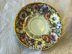 BONE CHINA CUP & SAUCER BY PARAGON WITH HEAVY GOLD poppy Flower Pattern