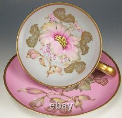 Bavaria Big Flower Gold Gild Tea Cup & Saucer