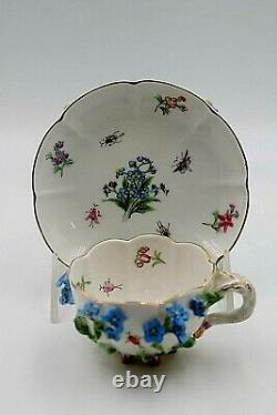 Beautiful Dresden Porcelain Flower Encrusted Footed Cup & Saucer Antique