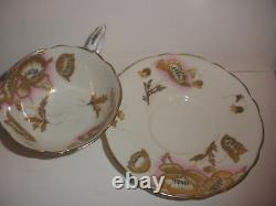 Beautiful English Royal Stafford Cup & Saucer Gold Enamel Poppy Poppies Flowers