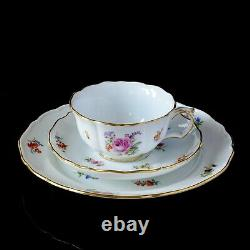 Beautiful antique Meissen tea cup, saucer & plate trio, flowers & insects, VGC