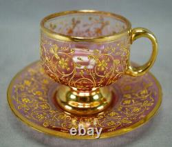 Bohemian Moser Type Enameled Gold Scrollwork Cranberry Demitasse Cup & Saucer A