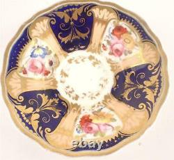 C1825 Antique John Yates Fluted Tea Cup & Saucer Painted Flower Cobalt Blue 1316
