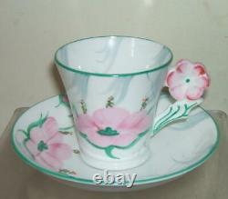 COLLINGWOOD 1930's PINK FLOWER HANDLE CUP & SAUCER-AYNSLEY, SHELLEY, PARAGON INT-2