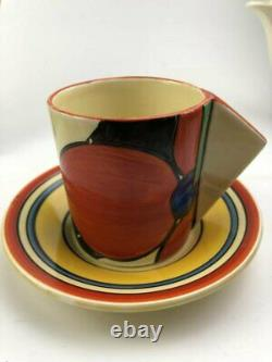 Clarice Cliff Red Picasso Flower Conical Demitasse Coffee Cup & Saucer. Circa