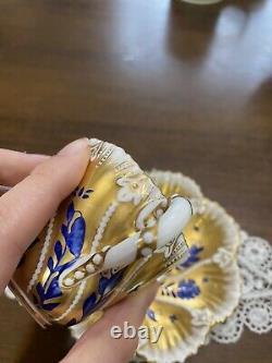 Coalport Swirl Raised Flower Cobalt Blue Tea Cup Saucer Gold AS IS