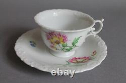 Coffee Tea Cup Saucer Plate Cross Swords Meissen Floral Flowers Scalloped Rim -E