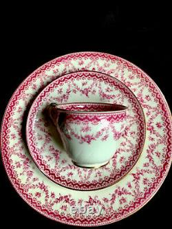 Crescent Sons Small Tea Cup Coffee Cup Saucer Trio Pink Roses Flowers Garlands