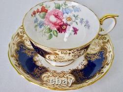 Crown Staffordshire Fancy Cobalt Blue Rich Gold Flowers Cup & Saucer