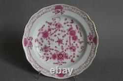 Demitasse Cup Saucer Plate Set 1st Meissen Indian Painting Purple Pink Flowers