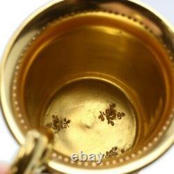 Dresden Ambrosius Lamm Gold Demitasse Cup & Saucer Couple Flower Germany Antique