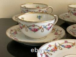 Dresden Bavaria Flowers 4 Cups and 5 Saucers