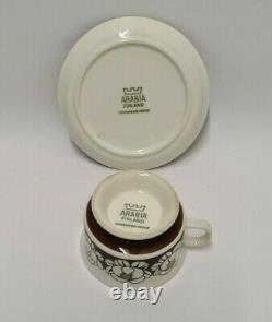 Esteri Tomula Katrilli Mocca Brown Cup & Saucer 1975 1977 Arabia Finland