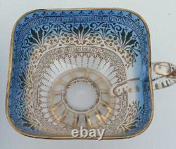 Exceptional Moser Cut Art Glass Gold Gilt Cup and Saucer VERY NICE