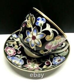 Famous vtg Tea Cup&Saucer Russian porcelain Parade of flowers Verbilki USSR