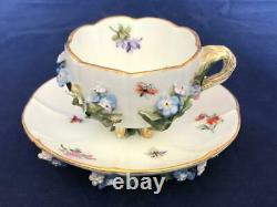 Fine Antique Meissen Porcelain Hand Painted Flower Encrusted Cup And Saucer