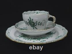 Fine Meissen Porcelain Indian Flowers Cup & Saucer & Plate WithGold Trim