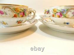 Four Schumann Dresden Flowers Fine Porcelain Cups And Saucer Sets Multicolored