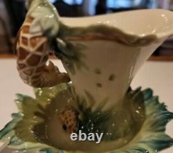 Franz Porcelain Flower Tea Cup, Saucer and Spoon Signed by Artist