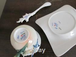 Franz Porcelain Flowers Butterfly FZ01838 Cup And Saucer With Spoon