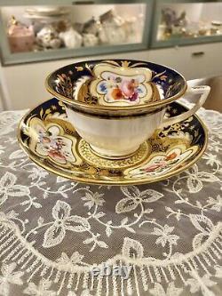 H&R Daniel Cobalt Blue HP Flower Cup Saucer 3859 Etruscan Coalport