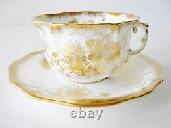 Hammersley Fine Bone China Gold And White Tea Cup And Saucer Gold Flowers Nice