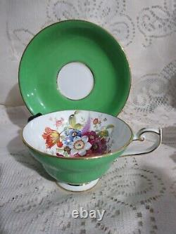 Hammersley Signed Howard Green China Cup & Saucer Flowers Gold Trim