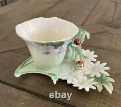 Hand Painted Franz Porcelain Ladybug Daisies Cup & Saucer FZ00034