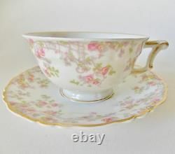 Haviland Limoges Three Trellis Cups And Saucers Pink Yellow Flowers Green Leaves