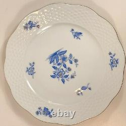 Herend Hungary Rare blue flowers 24 K 12 tea cups/saucers 11 plates HER37 Mint