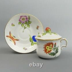 Herend Porcelain Fruits & Flowers Chocolate Cup, Saucer & Cover