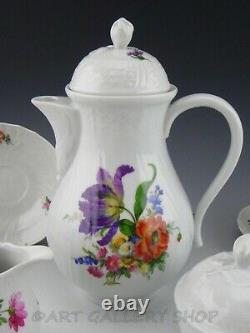 Hutschenreuther Germany DRESDEN FLOWERS COFFEE SET FOR 5 POT CUPS SAUCERS 14PC