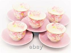 JAPANESE CERAMICS 5Tea CUP 5Tea Saucer 5- set Cherry blossom