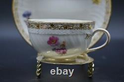 KPM Berlin German Centennial Hand Painted Flowers & Gold Tea Cup & Saucer