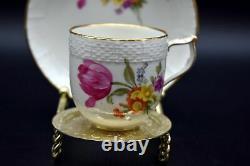 KPM Neuosier Cup Saucer Demitasse Dresden Flowers Butterflies Basket, Weave Gilt