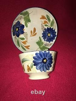 LB2 Staffordshire Pearlware Leeds Cup Saucer Large Blue Flower Ca. 1820 Mint