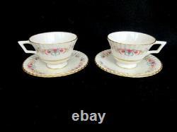 Lenox Cinderella 2 Tea Cups/Saucers V308 Fluted Floral Pink Flowers/Gold Trim